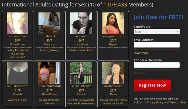 International dating site : more than 1 million members on ALT