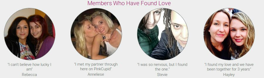 Testimonials and reviews from lesbian clients who share their experience with PinkCupid